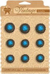 Creative Charms - Vintage Marble Brads - Blue