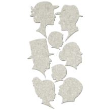 Fabscraps - Die-Cut Grey Chipboard  - Silhouettes