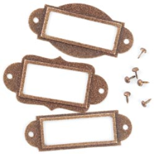 Metal Label Holders with Brads - Antique Copper (Glittered)