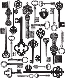 Prima Marketing -  Printery - Antique Keys Background - Clear Stamp