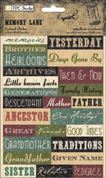 TPC Studio - Memory Lane - Words - Embossed Stickers