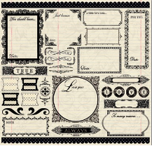 Narratives Antique Cream Collection - 12 X 12 Sticker Sheet