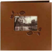 "Embossed Leatherette Postbound Album With Window 12""X12"""