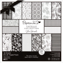 "Papermania - Bexley Black Paper Pack 8""X8"""