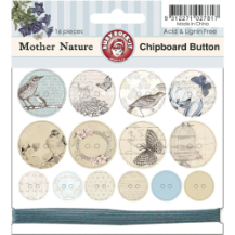 Mother Nature - Chipboard Buttons With Teal Color Twine