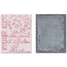 Distressed Frame & Postal Sizzix Texture Fades Embossing Folders 2/Pkg By Tim Holtz