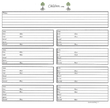 "Our Roots - 8"" x 8"" - Family Group Chart - More Children"