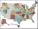 K&Company - Travel Cardstock Die-Cuts: States